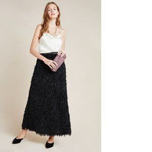 Anthropologie Chantal Feathered Maxi Skirt